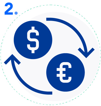 enter the amount and select foreign currency